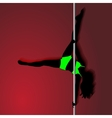 Pole dancer in bright green sport clothes sexy vector image