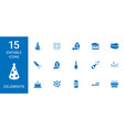 15 celebrate icons vector image vector image