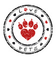 a grunge stamp with pet paw vector image vector image