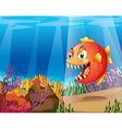 A piranha in the sea with corals vector image vector image