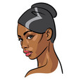 african woman face portrait cartoon style vector image