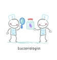 bacteriologist looking through a magnifying glass vector image vector image