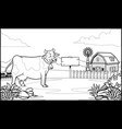 black and white coloring page cow in the ranch vector image