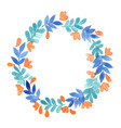 blue leaf and peach pink flower wreath vector image vector image