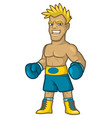 boxer blond ready for battle in blue gloves vector image vector image