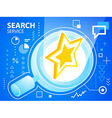bright star and search glass on blue backgro vector image vector image