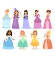cartoon girl princess characters different fairy vector image vector image