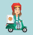 caucasian woman delivering pizza on scooter vector image vector image