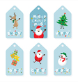 Christmas Tag Santa Claus and Friends Lettering vector image vector image
