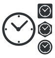 Clock icon set monochrome vector image