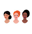 collection multiethnic female profile pictures vector image