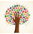 Colorful human hands tree vector image vector image