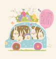 cute cartoon bunnies driving a car with easter vector image vector image