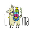 cute lama character greeting card for your design vector image vector image
