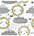 cute sun and clouds childish seamless pattern vector image vector image