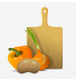 Cutting board and vegetables vector image