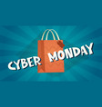 cyber monday background with shopping bag online vector image