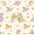 dino dreams hand drawn seamless pattern vector image