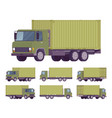 euro truck with green metal container vector image vector image
