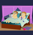 fat people in bed vector image vector image