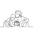 father and son with christmas presents vector image vector image