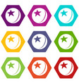 glossy star ball icons set 9 vector image
