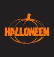 halloween logo with pumpkins black background vector image vector image