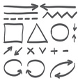 Hand drawn arrows set icon vector image vector image