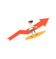 happy businessman on surfboard icon vector image