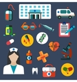 Hospital and medicine flat icons vector image vector image
