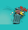 human brain is thrown in the trash vector image vector image