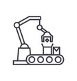industrial robot sign line icon sign vector image vector image