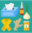 influenza and cold themed design elements in vector image vector image