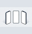 isometric phone mockup set glass blue vector image vector image