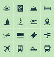 journey icons set with train diving suv and vector image