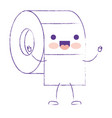 kawaii cartoon toilet paper roll in purple blurred vector image