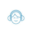 listening music in headphones linear icon concept vector image