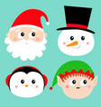 merry christmas new year santa claus elf snowman vector image vector image