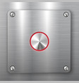metallic button on square plate vector image vector image