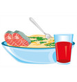 plate with fish dish and drink juice vector image vector image