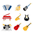 popular music instruments icons set vector image