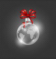 realistic glass ball christmas ball with map vector image
