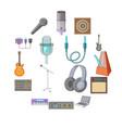 recording studio icons set cartoon style vector image vector image