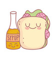 sandwich and syrup menu restaurant cartoon food vector image
