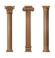 set classic wood columns vector image vector image