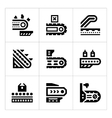 Set icons of conveyor vector image vector image