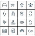 set of 16 garden icons includes wheelbarrow vector image vector image