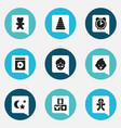 set of 9 editable folks icons includes symbols vector image vector image