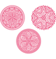 Set of cute circle ornament laces in pink mandala vector image