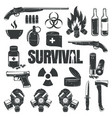 set of icons on the theme of survival vector image vector image